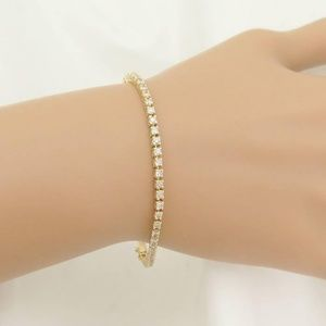 Jewelry - Solid 14K White or yellow Gold Tennis Bracelet